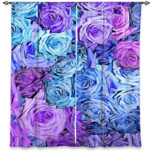 Decorative Window Treatments | Susie Kunzelman - Roses Lavender Blue | Flower Floral