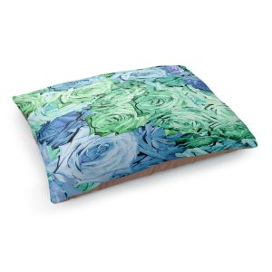 Decorative Dog Pet Beds | Susie Kunzelman - Roses Pastel Blue Green | Flower Floral