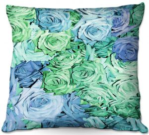 Decorative Outdoor Patio Pillow Cushion | Susie Kunzelman - Roses Pastel Blue Green | Flower Floral