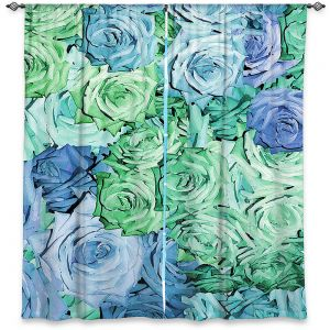 Decorative Window Treatments | Susie Kunzelman - Roses Pastel Blue Green | Flower Floral