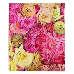 Decorative Fleece Throw Blankets | Susie Kunzelman - Roses Yellow Pinks | Flower Floral