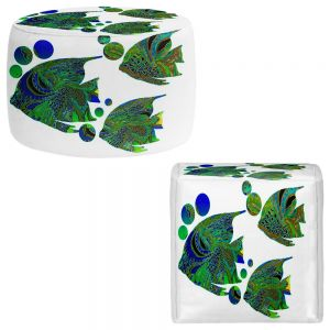 Round and Square Ottoman Foot Stools | Susie Kunzelman - Sailfish II