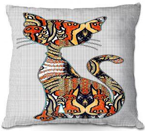 Decorative Outdoor Patio Pillow Cushion | Susie Kunzelman - Sleek Kitty
