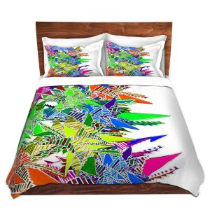 Artistic Duvet Covers and Shams Bedding | Susie Kunzelman - Stained Glass | Abstract Geometric Colorful