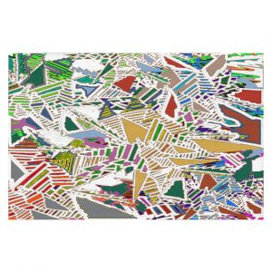 Decorative Floor Coverings | Susie Kunzelman - Stained Glass With White | Abstract Geometric Colorful