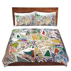 Artistic Duvet Covers and Shams Bedding | Susie Kunzelman - Stained Glass With White | Abstract Geometric Colorful