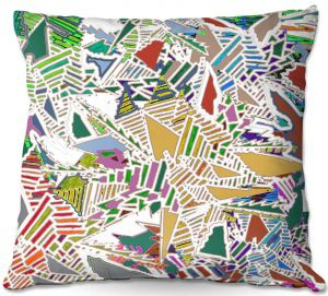 Throw Pillows Decorative Artistic | Susie Kunzelman - Stained Glass With White | Abstract Geometric Colorful