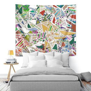 Artistic Wall Tapestry | Susie Kunzelman - Stained Glass With White | Abstract Geometric Colorful