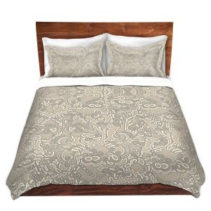 Artistic Duvet Covers and Shams Bedding | Susie Kunzelman - Strange Trip Tan | Simple abstract pattern