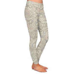 Casual Comfortable Leggings | Susie Kunzelman - Strange Trip Tan | Simple abstract pattern