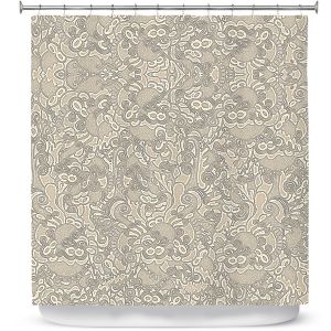 Premium Shower Curtains   Susie Kunzelman - Strange Trip Tan   Simple abstract pattern
