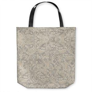 Unique Shoulder Bag Tote Bags | Susie Kunzelman - Strange Trip Tan | Simple abstract pattern