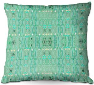Decorative Outdoor Patio Pillow Cushion | Susie Kunzelman - Summers End Aqua | Pattern repetition