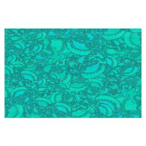 Decorative Floor Covering Mats | Susie Kunzelman - Tapestry Mixed Teal | Pattern repetition abstract