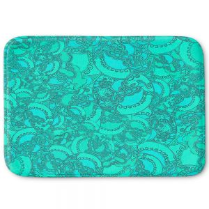 Decorative Bathroom Mats | Susie Kunzelman - Tapestry Mixed Teal | Pattern repetition abstract