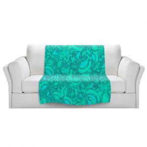 Artistic Sherpa Pile Blankets   Susie Kunzelman - Tapestry Mixed Teal   Pattern repetition abstract
