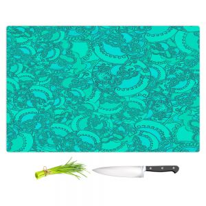 Artistic Kitchen Bar Cutting Boards | Susie Kunzelman - Tapestry Mixed Teal | Pattern repetition abstract