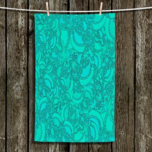 Unique Bathroom Towels | Susie Kunzelman - Tapestry Mixed Teal | Pattern repetition abstract