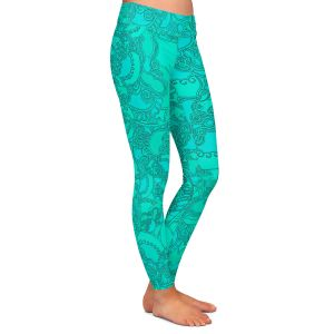 Casual Comfortable Leggings | Susie Kunzelman - Tapestry Mixed Teal | Pattern repetition abstract