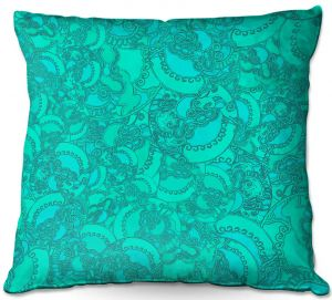 Decorative Outdoor Patio Pillow Cushion | Susie Kunzelman - Tapestry Mixed Teal | Pattern repetition abstract