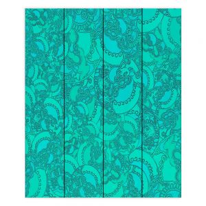 Decorative Wood Plank Wall Art   Susie Kunzelman - Tapestry Mixed Teal   Pattern repetition abstract
