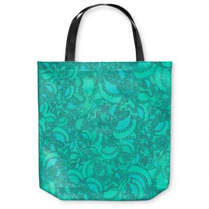 Unique Shoulder Bag Tote Bags | Susie Kunzelman - Tapestry Mixed Teal | Pattern repetition abstract