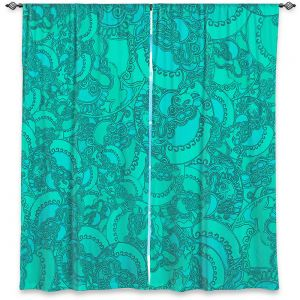 Decorative Window Treatments | Susie Kunzelman - Tapestry Mixed Teal | Pattern repetition abstract