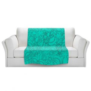 Artistic Sherpa Pile Blankets   Susie Kunzelman - Tapestry teal   Pattern repetition abstract