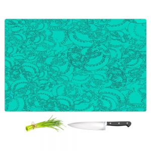 Artistic Kitchen Bar Cutting Boards | Susie Kunzelman - Tapestry teal | Pattern repetition abstract