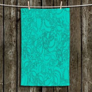 Unique Hanging Tea Towels | Susie Kunzelman - Tapestry teal | Pattern repetition abstract