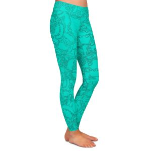 Casual Comfortable Leggings | Susie Kunzelman - Tapestry teal | Pattern repetition abstract