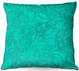 Decorative Outdoor Patio Pillow Cushion | Susie Kunzelman - Tapestry teal | Pattern repetition abstract