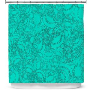 Premium Shower Curtains | Susie Kunzelman - Tapestry teal | Pattern repetition abstract