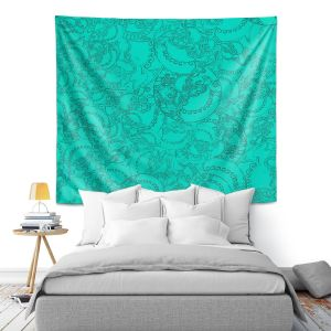 Artistic Wall Tapestry   Susie Kunzelman - Tapestry teal   Pattern repetition abstract