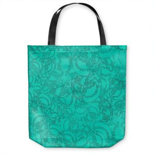 Unique Shoulder Bag Tote Bags | Susie Kunzelman - Tapestry teal | Pattern repetition abstract