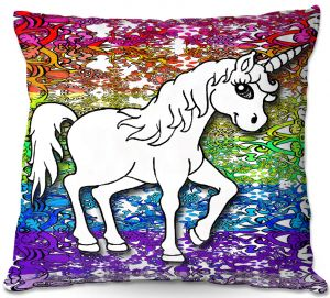 Throw Pillows Decorative Artistic   Susie Kunzelman - Unicorn Rainbow A