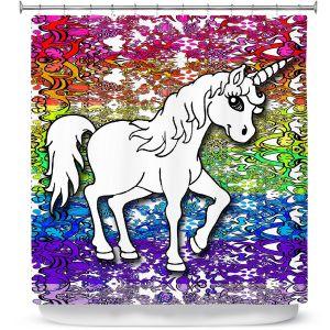 Premium Shower Curtains | Susie Kunzelman - Unicorn Rainbow A
