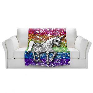 Artistic Sherpa Pile Blankets   Susie Kunzelman - Unicorn Rainbow B