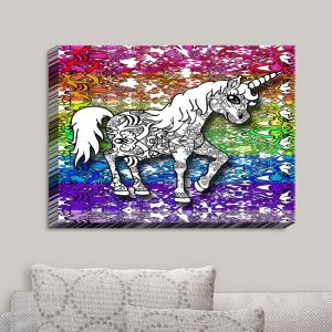 Decorative Canvas Wall Art | Susie Kunzelman - Unicorn Rainbow B | Fantasy Childlike Whimsical Animals