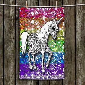 Unique Hanging Tea Towels | Susie Kunzelman - Unicorn Rainbow B | Fantasy Childlike Whimsical Animals