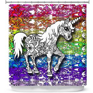 Premium Shower Curtains | Susie Kunzelman - Unicorn Rainbow B