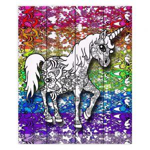 Decorative Wood Plank Wall Art | Susie Kunzelman - Unicorn Rainbow B