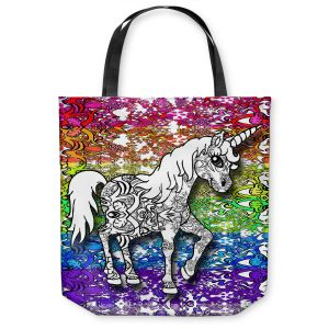 Unique Shoulder Bag Tote Bags | Susie Kunzelman - Unicorn Rainbow B