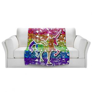 Artistic Sherpa Pile Blankets   Susie Kunzelman - Unicorn Rainbow C