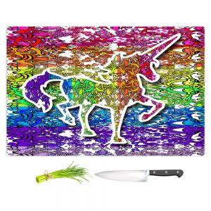 Artistic Kitchen Bar Cutting Boards | Susie Kunzelman - Unicorn Rainbow C