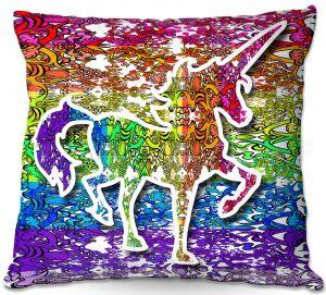 Decorative Outdoor Patio Pillow Cushion | Susie Kunzelman - Unicorn Rainbow C