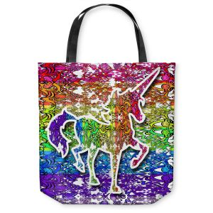 Unique Shoulder Bag Tote Bags | Susie Kunzelman - Unicorn Rainbow C