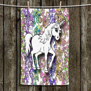 Unique Hanging Tea Towels | Susie Kunzelman - Unicorn Rainbow D | Fantasy Childlike Whimsical Animals