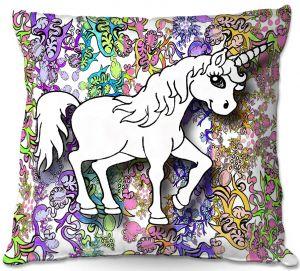 Throw Pillows Decorative Artistic | Susie Kunzelman - Unicorn Rainbow D