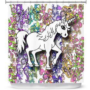 Premium Shower Curtains | Susie Kunzelman - Unicorn Rainbow D